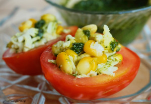Tomato Salad Cups with Sweet Basil Vinaigrette