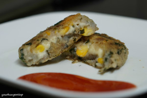 Spinach Cheese Corn Tikki