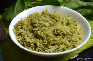 Palak Rice or Palak Pulao